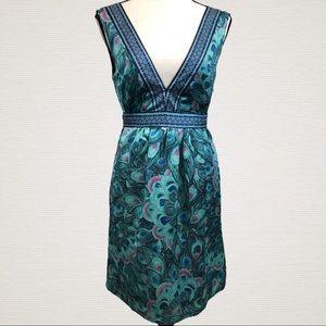 H & M Deep V-Neck Sleeveless Belted Dress Size 6